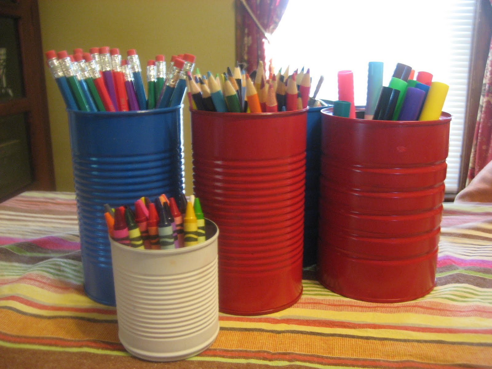 Recycle cans into art supply storage for How to store craft supplies
