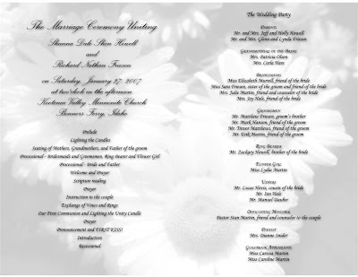 Trifold Wedding Programs on Wedding Program