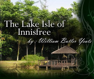 william butler yeats the lake isle of innisfree In 1888, william butler yeats wrote lake isle of innisfree it's a longing for a quiet place in nature to be alone and find peace it suggests that he has a plan.