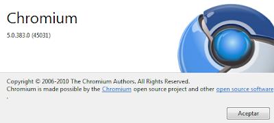 Imagen: Acerca de Chromium
