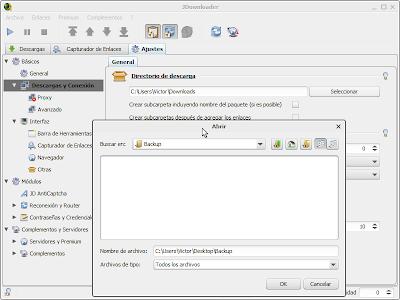 Imagen: JDownloader - Cambiar directorio de descarga