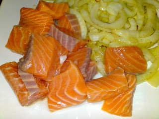 Raw salmon sashimi, with sautéed fennel