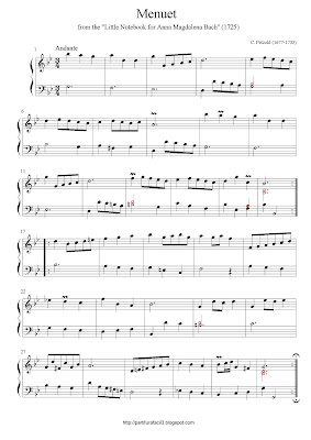 Free easy piano sheet music of Johann Sebastian Bach: Menuet (3)