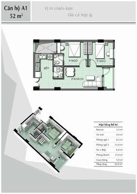 Căn hộ A1 52 m2