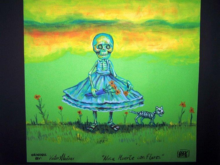 """""""niña muerte con flores"""""""
