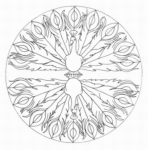 Mandalas Para Pintar: pavo real II