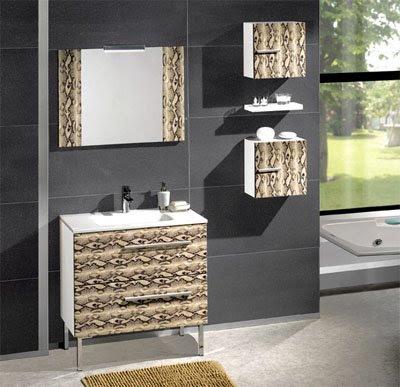 Serie nilo de muebles de baño con frentes en piel y/o lacados ...