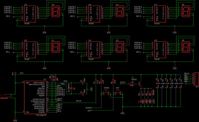 Schematic of a Digital Clock using PIC16F627a or PIC16F628 and Led 7-Segment with showing second