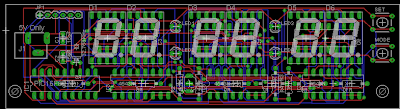 PCB of a Digital Clock using PIC16F627a or PIC16F628 and Led 7-Segment with showing second