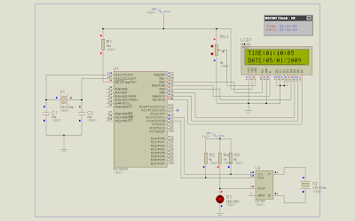 Schematic of a simple clock using DS1307 and PIC16F877A