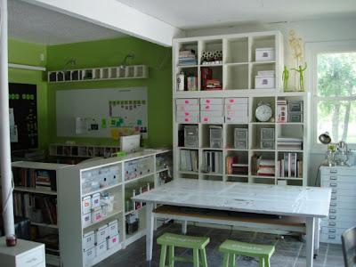Art studio of artist Shannon Christensen, which she created in her two-car garage
