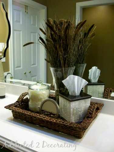 Gwen s master bathroom for Bathroom countertop accessories