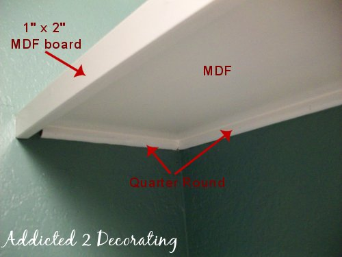 The Shelves Are Supported On Three Sides With Quarter Round. One Flat Side  Is Against The Wall, And The Other Flat Side Is Facing Up So That The Shelf  Can ...