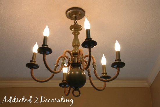 DIY projects with jute--add texture to a chandelier by wrapping the chandelier arms with jute