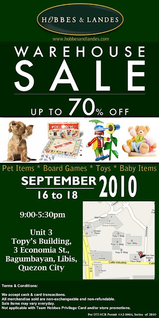 Hobbes and Landes Warehouse Sale (Sept 16-18)