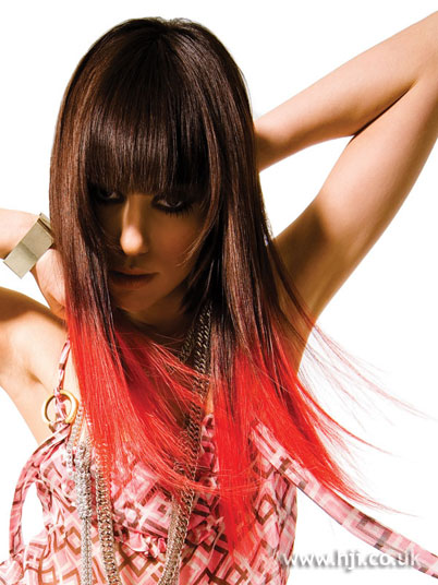 For instance, white or red highlights are generally used over black hair.