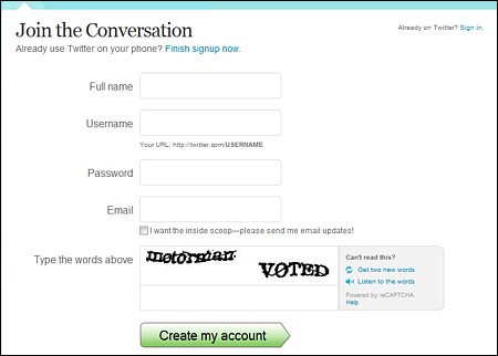 twitter sign up form Cara Membuat Twitter
