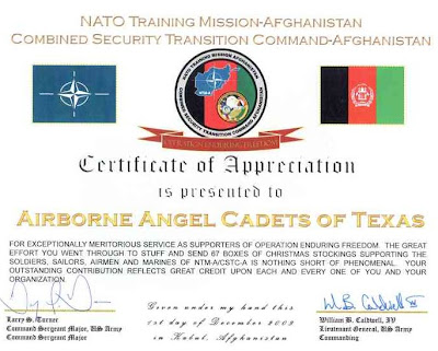 Care packages for soldiers certificate from nato training mission care packages for soldiers certificate from nato training mission afghanistan spiritdancerdesigns Gallery