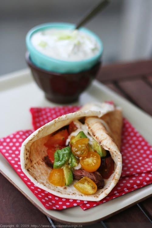 Pita Sandwiches with Flank Steak, Tomato and Avocado and Lemony Yogurt ...