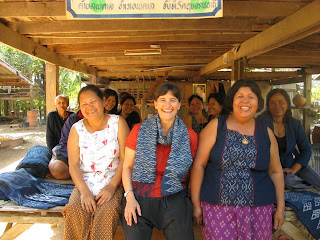 village women's weaving group in rural Thailand, specializing in natural indigo mudmee dyeing