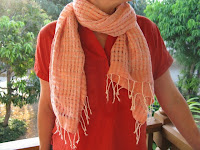 handwoven, naturally dyed, organic cotton scarf from Thailand