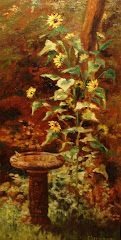 Birdbath and the Giant Sunflower