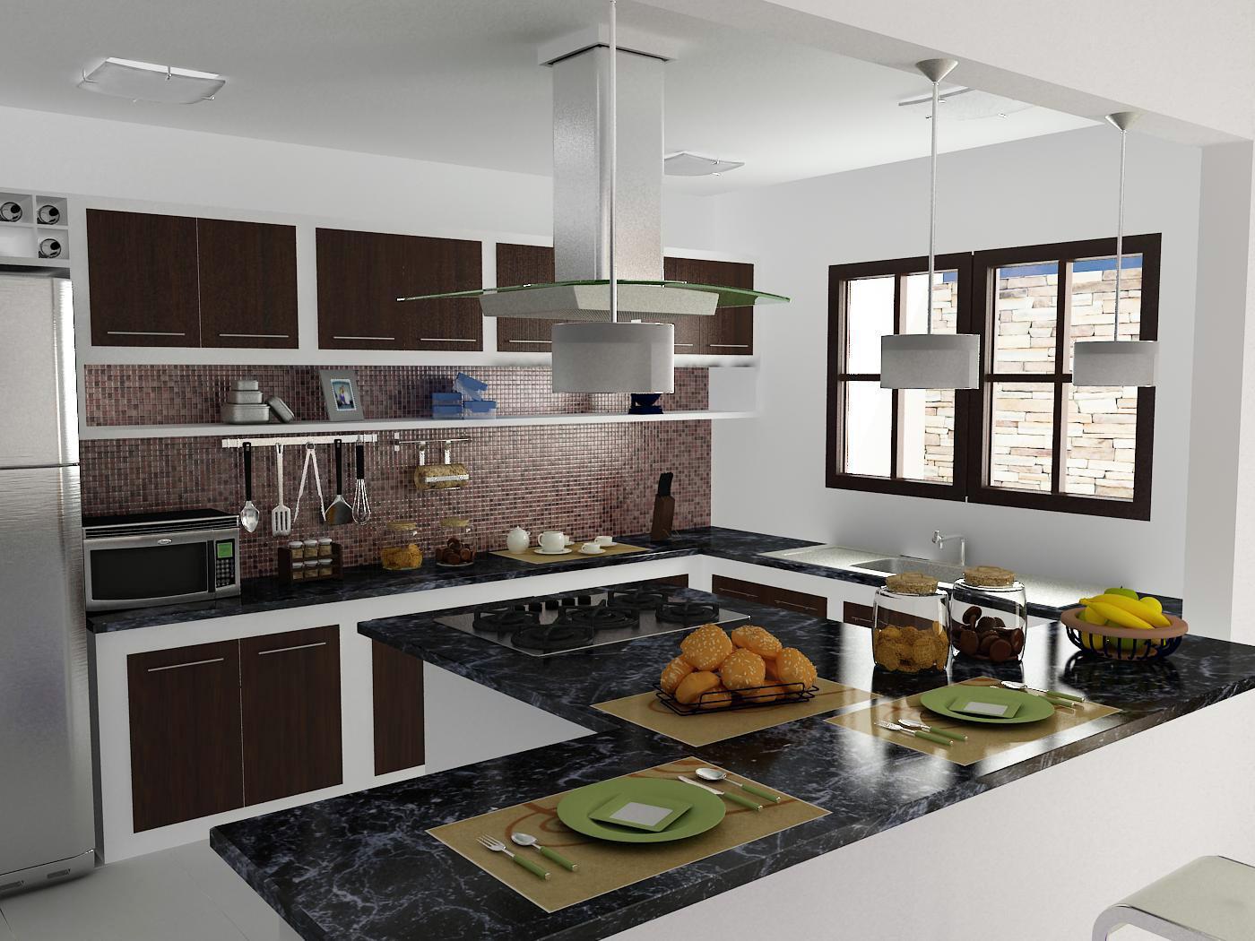 Uma cozinha que terminei hoje 3D Max Vray e PS. #485F83 1400 1050