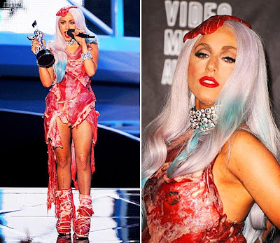 Pictures lady gaga wearing meat dress