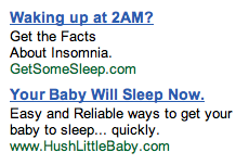 Insomnia Ads in GMail