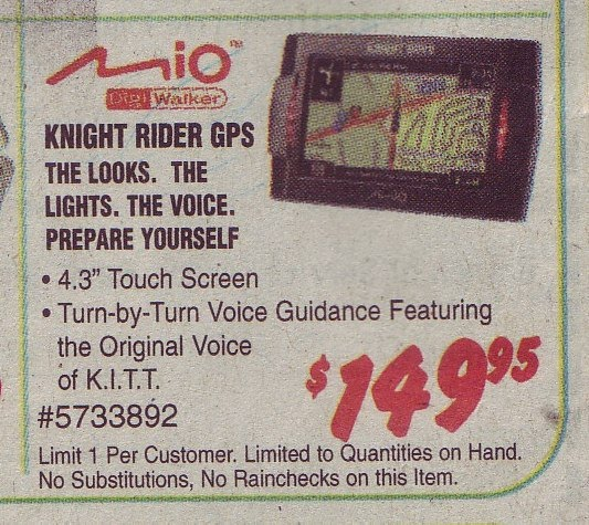 Knight Rider GPS $149 at Frys