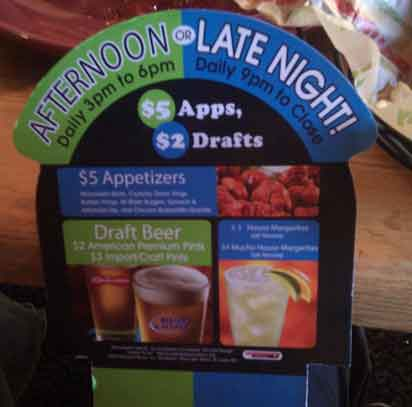 Applebees table ad for apps $5 drafts $2