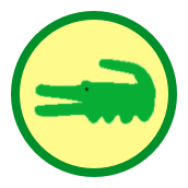 Badge with a stylized alligator