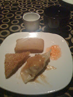 Sake, tea, and a selection of appetizers