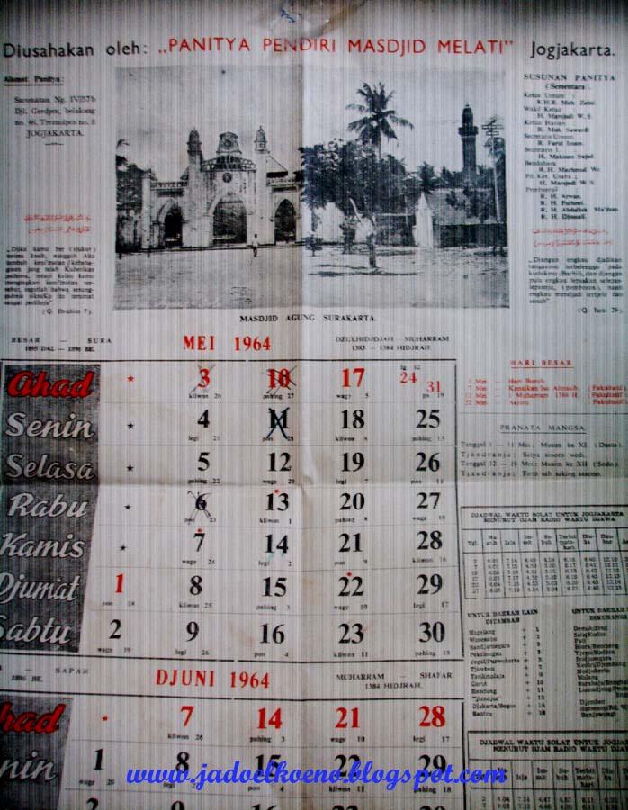 Hanya satu lembar, bulan Mei-Juni 1964. Ini model kalender yang ...