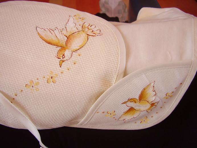 conjunto fralda de babete-batizado