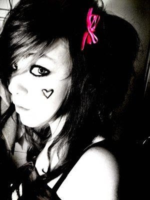 Emo girl with heart tattoo