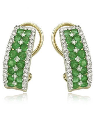 Gold Emerald Diamond Earrings