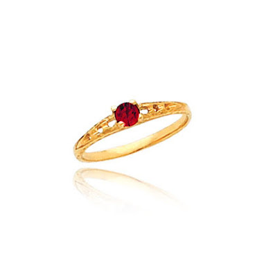 14K Gold Ruby Birthstone Ring
