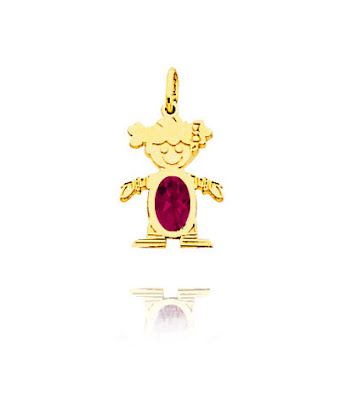 14K Gold July Ruby Birthstone Girl Charm