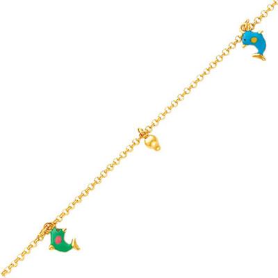 14K Gold Enameled Dolphin Anklet