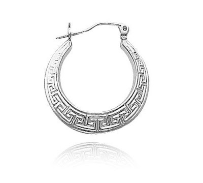 Silver Greek Key Earrings