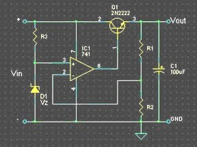 Regulator circuit using Op-Amp Diagram