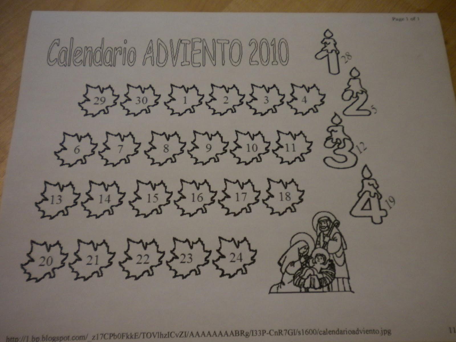 Familia Católica: Calendarios de Adviento para Colorear 2010