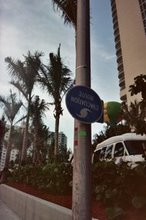 Upside down Hurricane Evacuation sign on A1A, Hallandale Beach, FL