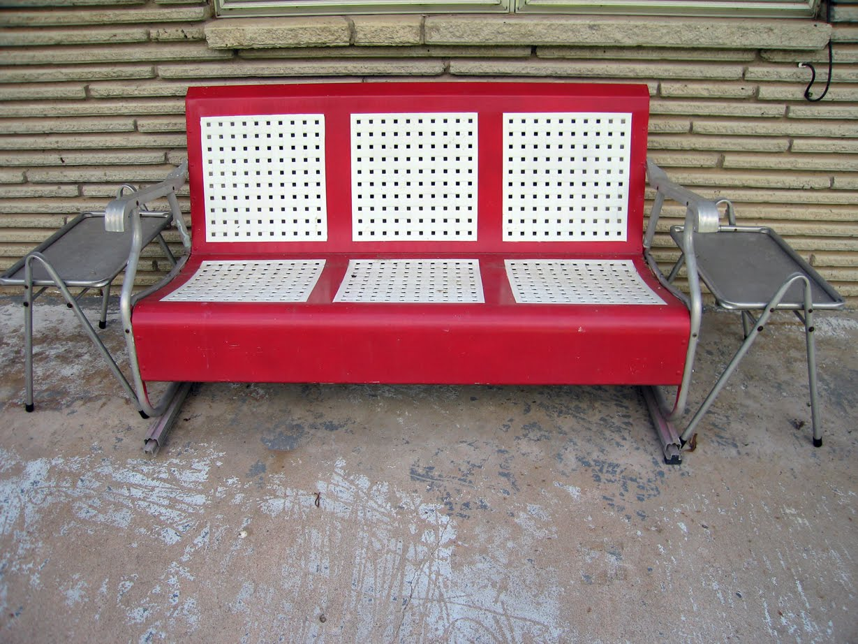 Backyard Ideas Vintage Glider Chairs Red Metal Glider