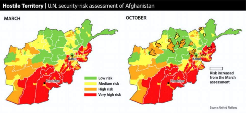 Afghanistan war deterioration in afghanistan un map evidence internal united nations maps show a marked deterioration of the security situation in afghanistan during this years fighting season countering the obama gumiabroncs Choice Image