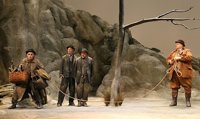 Scene from Waiting for Godot will John Glover, Bill Irwin, Nathan Lane and John Goodman