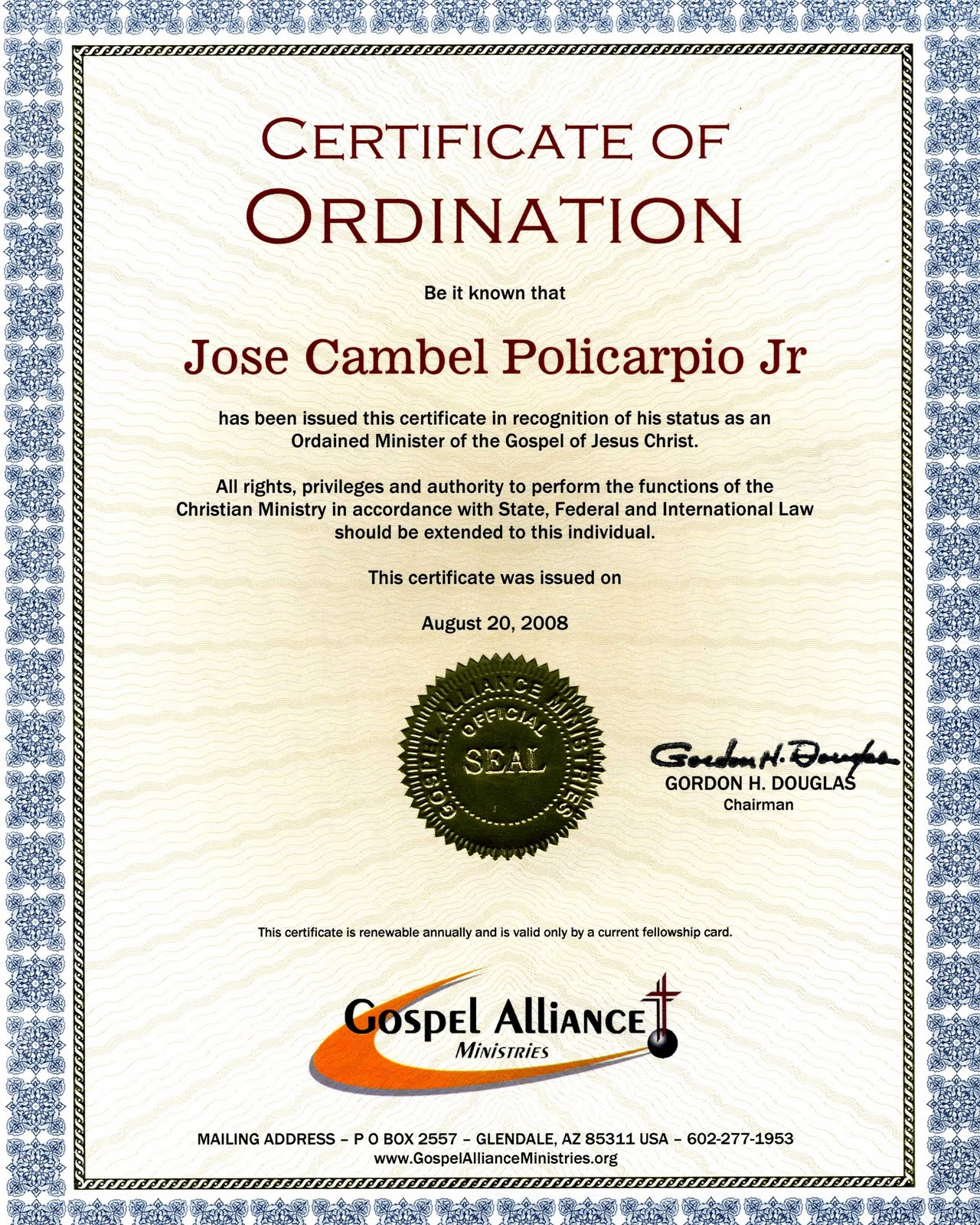 Certificate of Ordination - Rev. Jun Policarpio
