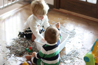 Sensory Tub with Shredded Paper