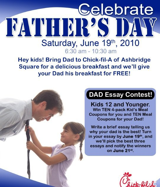 fathers day essay contest 2008 Stageoflifecom features a monthly writing contest for parents if you're a mom or dad with a knack for writing, you'll want to submit an essay to the free national.